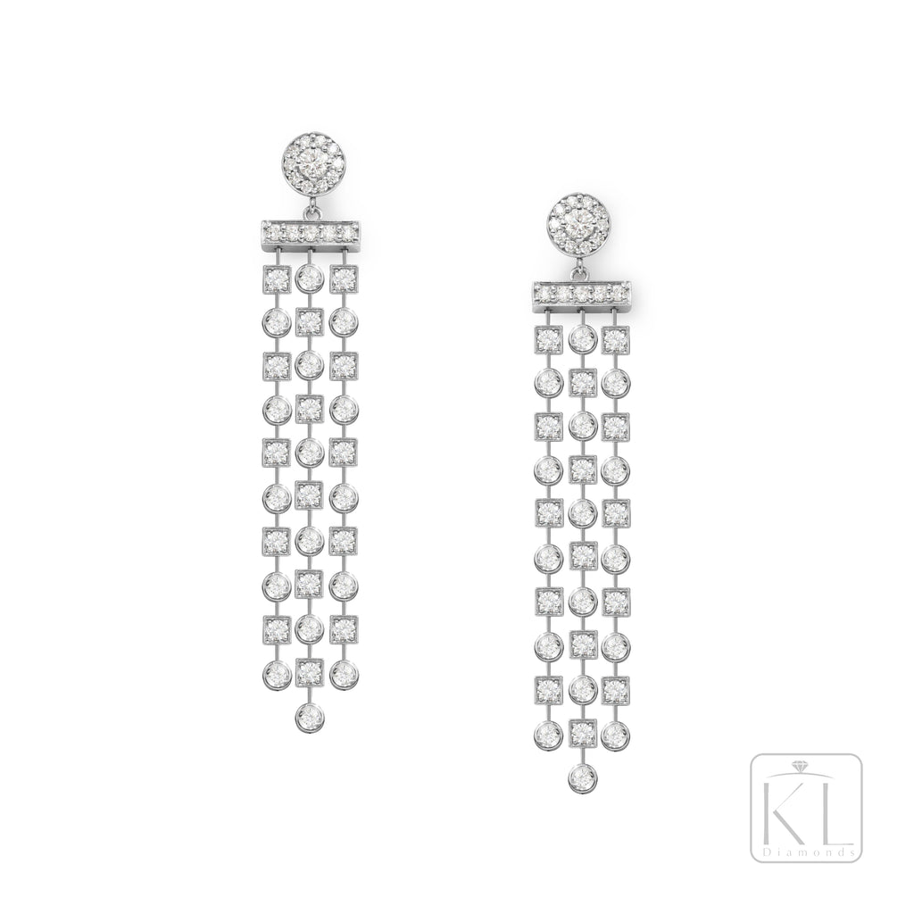 Dramatique 18ct White Gold & Diamond Drop Earrings