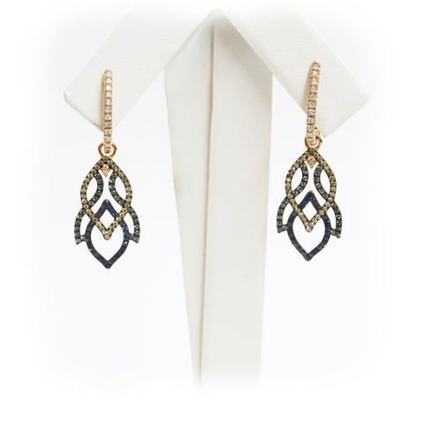 18ct Rose gold diamond and sapphire earrings