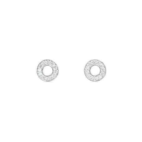 18ct white gold diamond circle studs