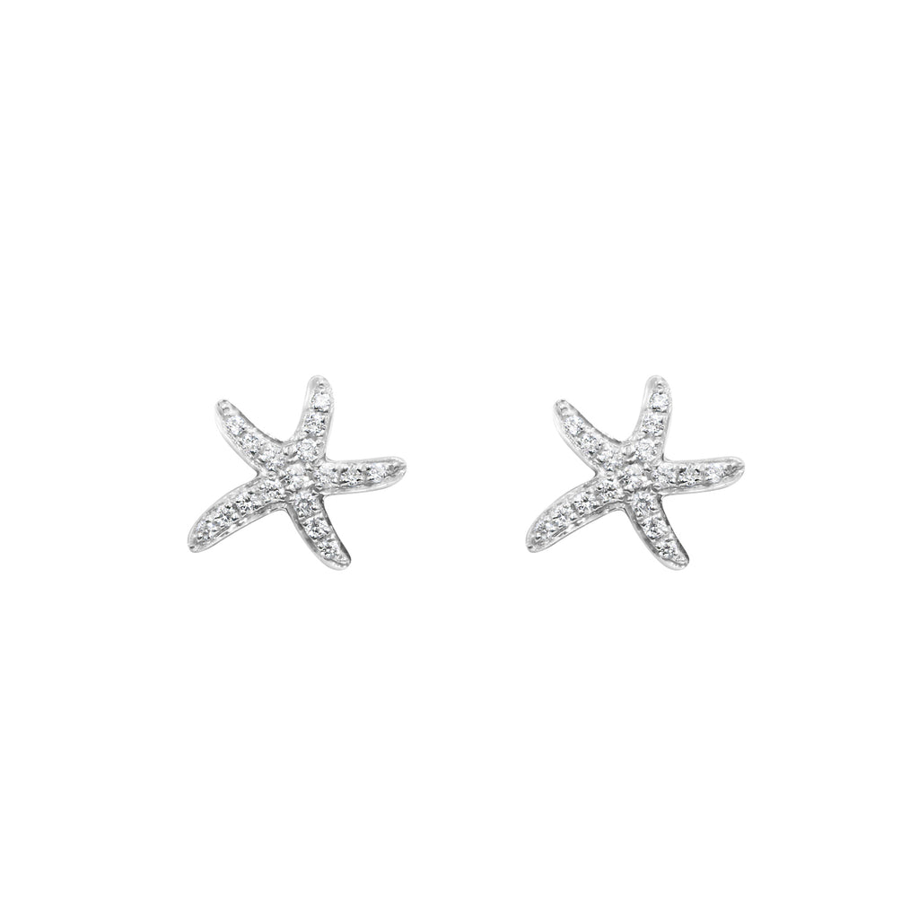 18ct White gold starfish earrings