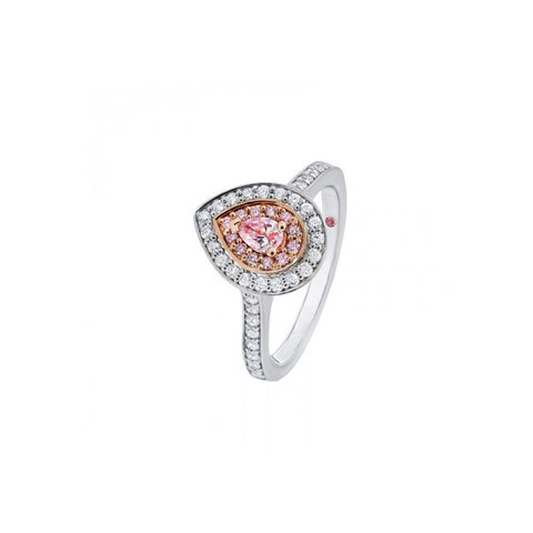 Pear shape pink diamond halo engagement ring