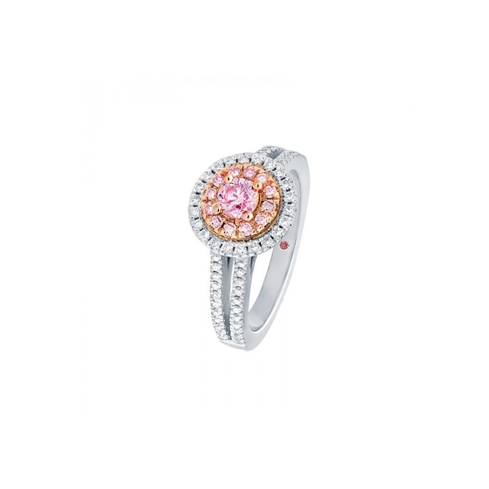 Pink and white diamond double halo engagement ring