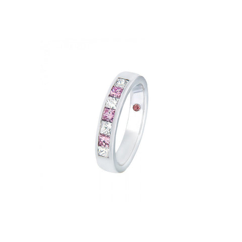 Pink and white diamond wedding ring