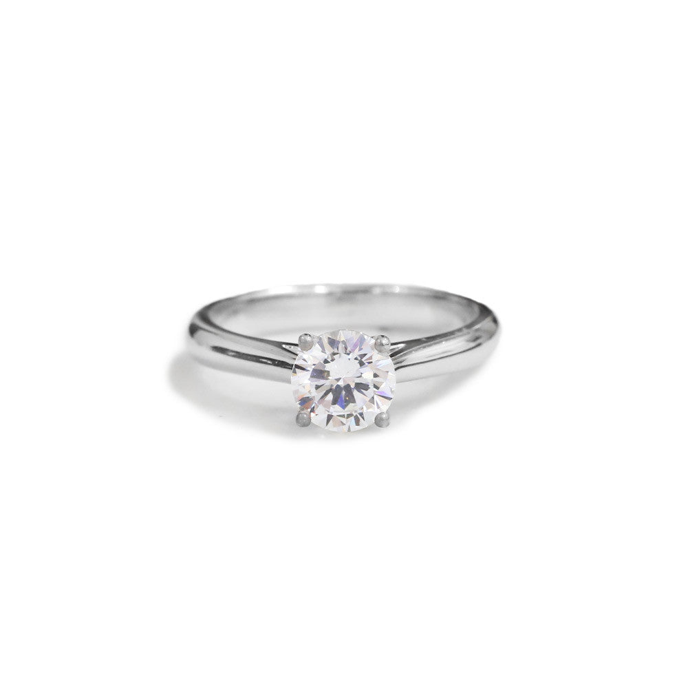 Solitaire round brilliant cut diamond engagement ring