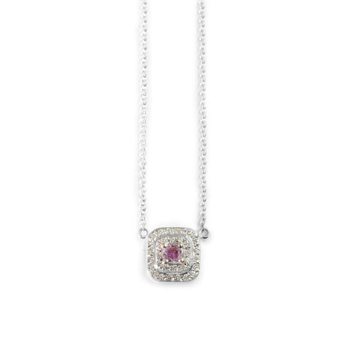 18ct white gold pink diamond pendant