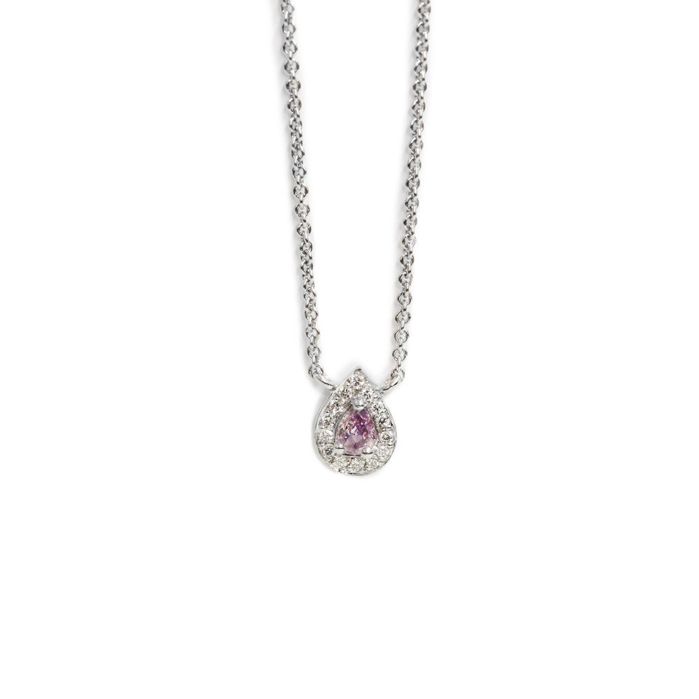 Pink and white diamond pendant