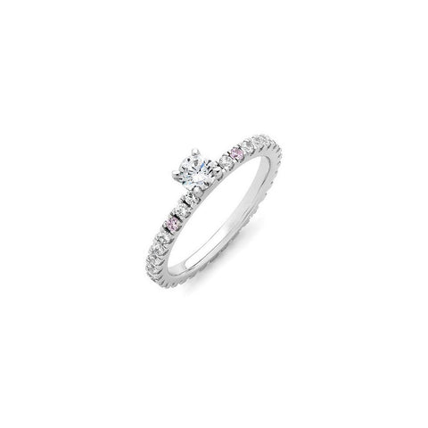Round pink diamond engagement ring