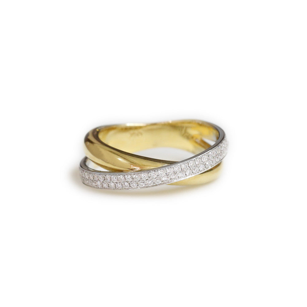 18ct Two tone diamond pave ring