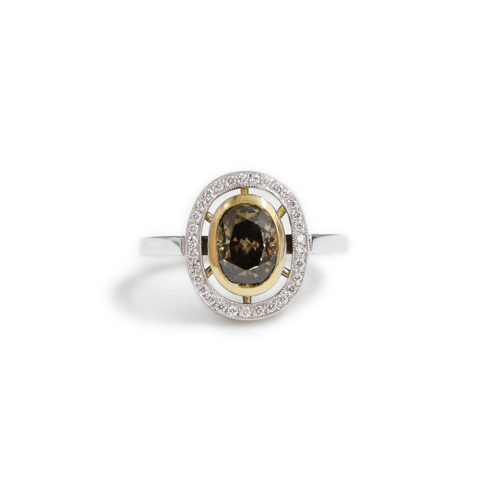 18ct Two tone cognac diamond ring