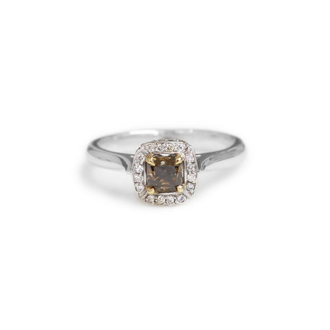 18ct Two tone cognac diamond halo ring