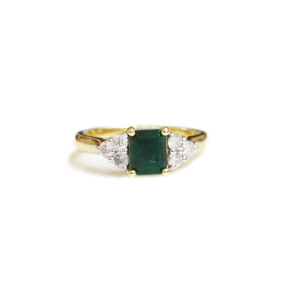 18ct Two tone emerald and diamond ring