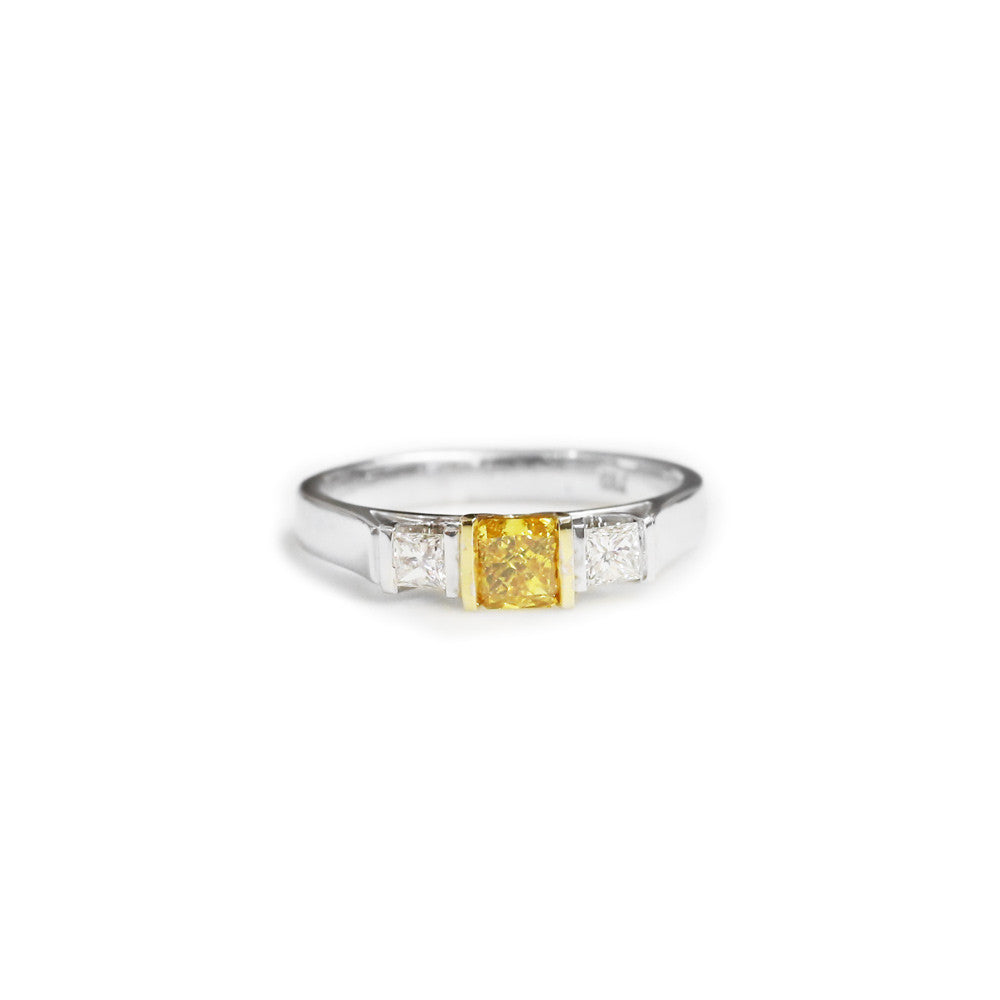 18ct two tone yellow diamond engagement ring