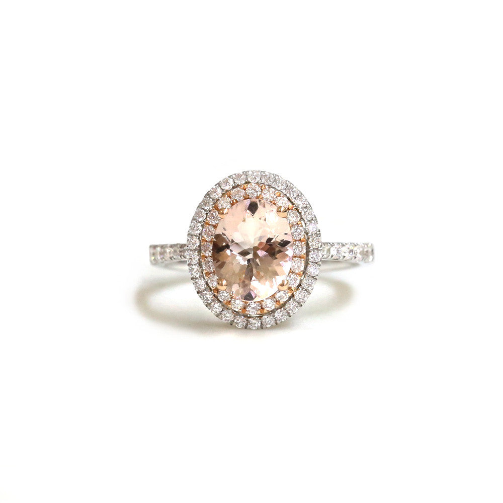 18ct White gold morganite and diamond ring