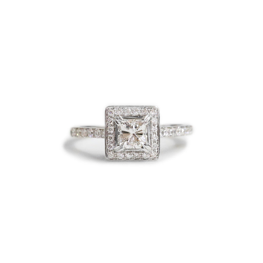 18ct White diamond halo engagement ring
