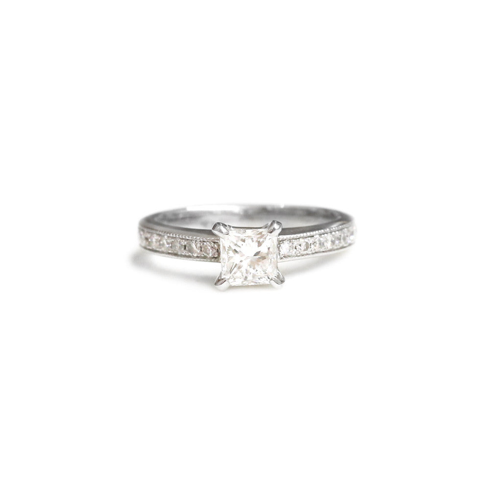 18ct White Gold Princess Cut Engagement Ring