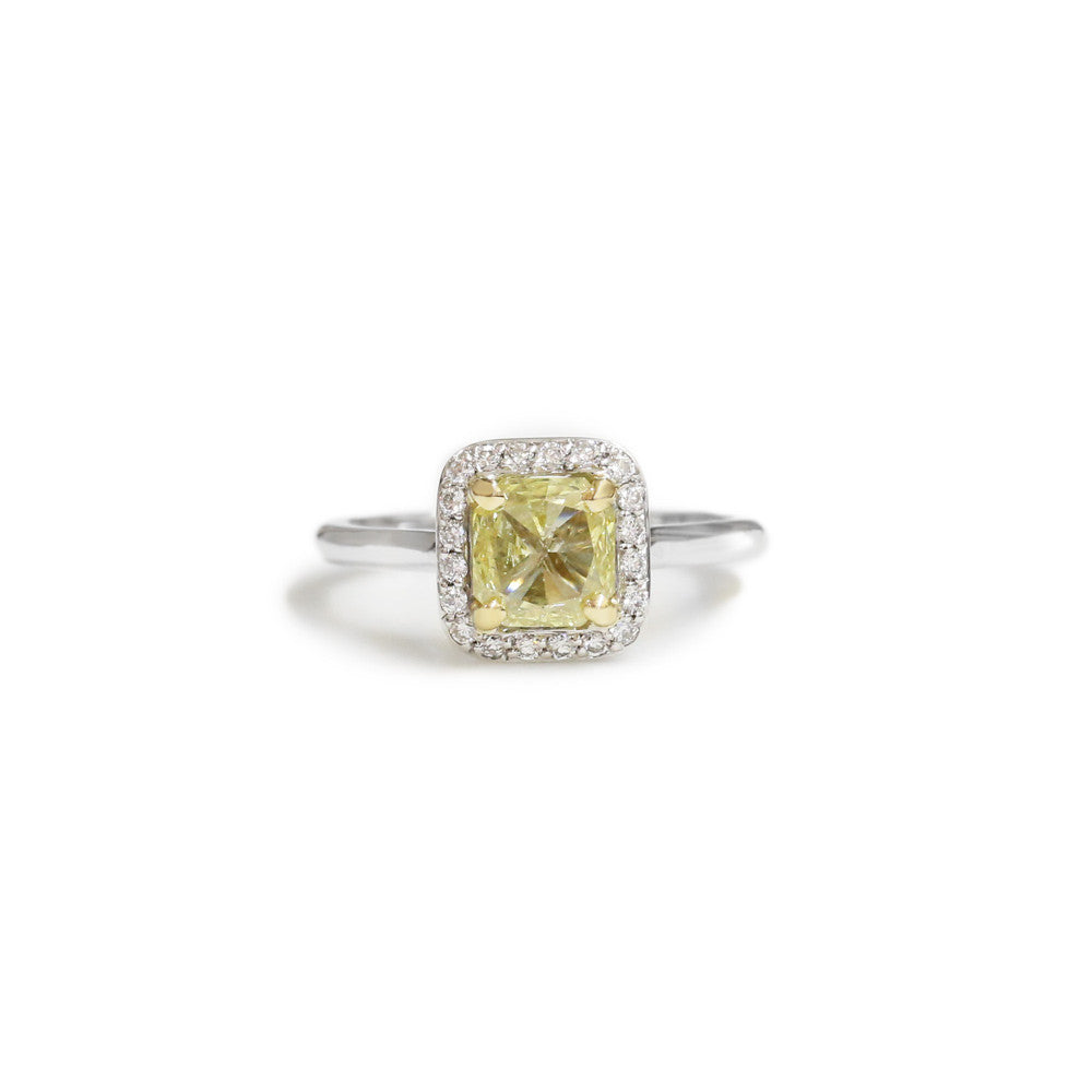 18ct White gold yellow diamond engagement ring