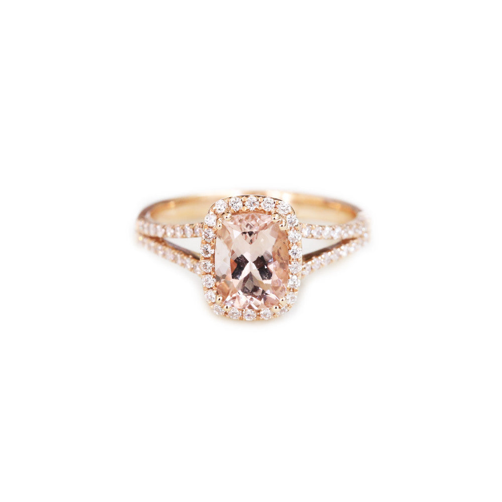 teardrop design carat shaped ring gold halo engagement rose promise morganite diamond pear