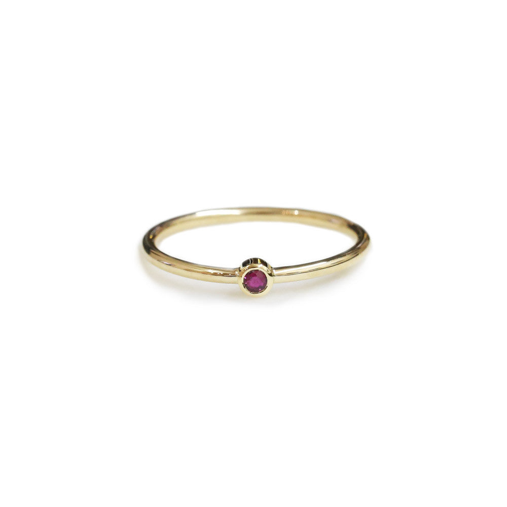 18ct Yellow gold ruby stack ring