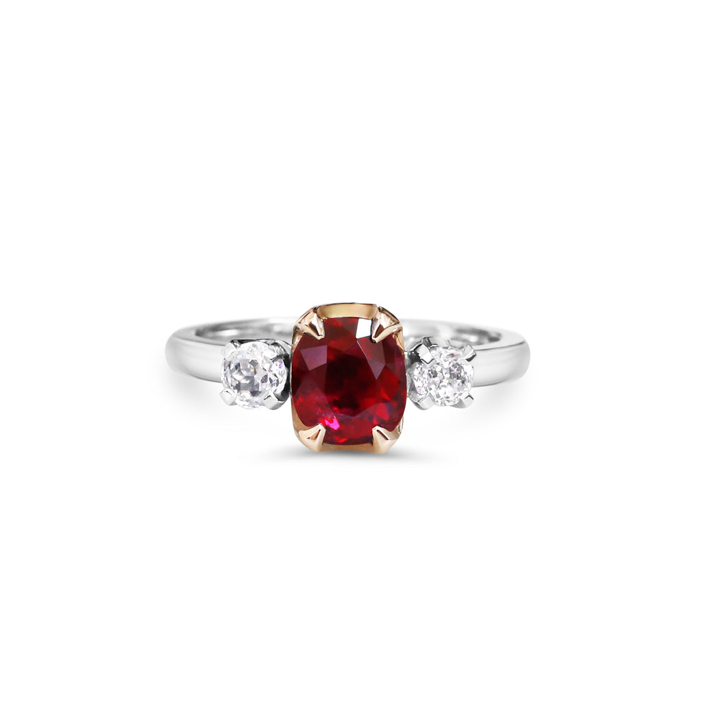 18ct white and rose gold ruby and diamond ring