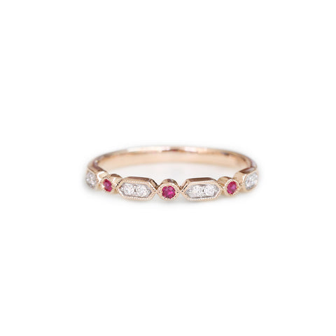 18ct Rose gold ruby & diamond ring