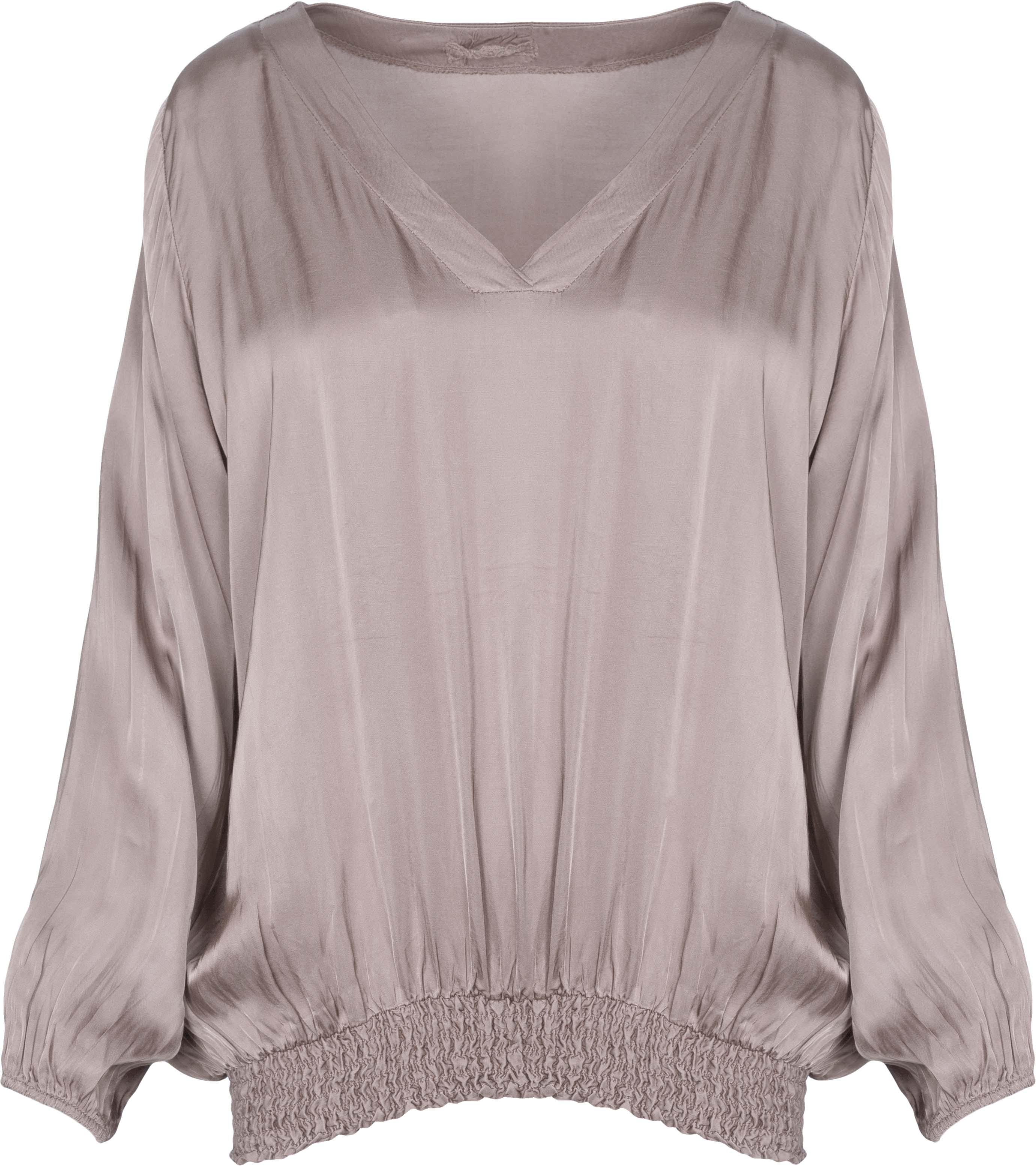 Woven Sateen Top in Taupe by M Made in  Italy - Weekends on 2nd Ave