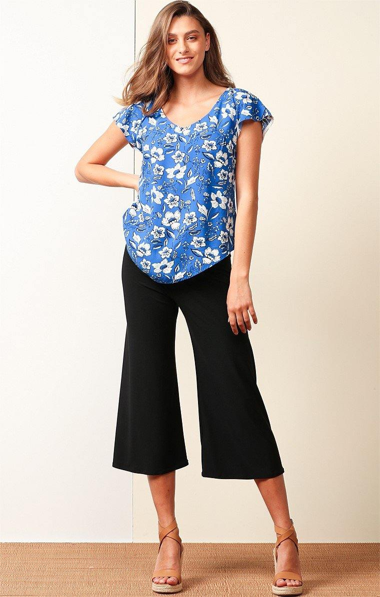 EPHRAIM LOOSE FIT CAP SLEEVE V-NECK REVERSIBLE TOP IN BLUE WHITE FLOWER PRINT by Sacha drake - Weekends on 2nd Ave - Sacha Drake