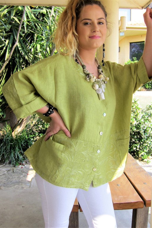 Embroidered Linen Top - Conti Moda | Buy Online at Weekends