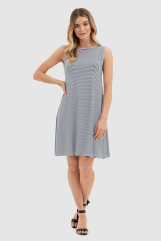 Bamboo Body Adele Dress - White & Navy Stripe - Weekends