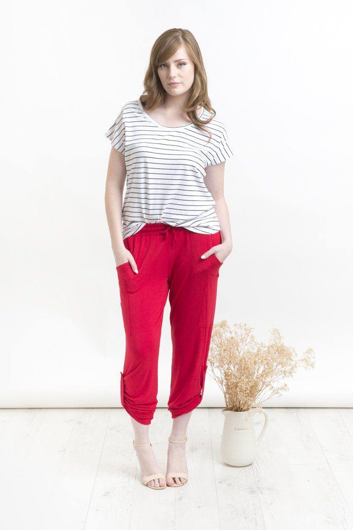 Bamboo Body Pocket Pant - Red | Buy Online at Weekends