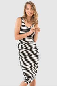 Bamboo Body Ruched Tank Dress - Black & Cream Stripe style {{product.sku}} - buy from Weekends on 2nd Ave at {{shop.url}} or visit our shop at Second Ave Plaza on the corner of Beaufort Street & Second Avenue Mount Lawley WA