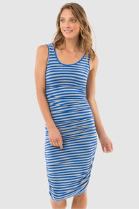 Bamboo Body Ruched Tank Dress - Blue & Grey Stripe style {{product.sku}} - buy from Weekends on 2nd Ave at {{shop.url}} or visit our shop at Second Ave Plaza on the corner of Beaufort Street & Second Avenue Mount Lawley WA