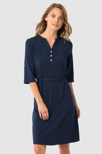 Bamboo Body Tab Sleeve Dress - Navy - Weekends on 2nd Ave