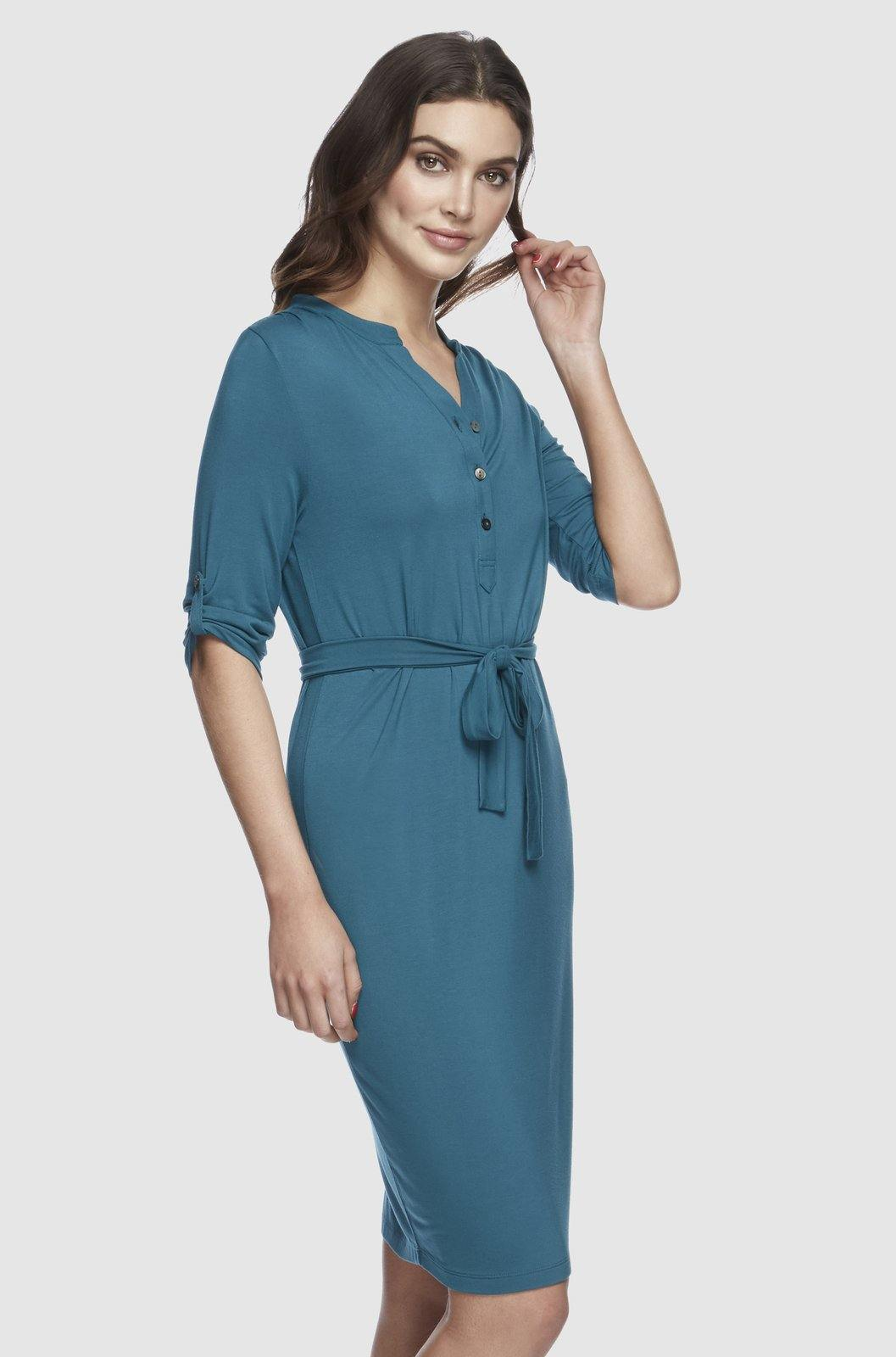 Bamboo Body Tab Sleeve Dress - Spruce - Weekends on 2nd Ave
