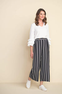 Striped Wide Leg Pants in Black & White by Joseph Ribkoff - Weekends on 2nd Ave