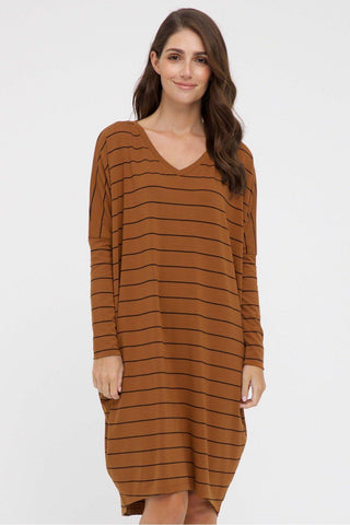 Bamboo Body Caz Dress - Ginger Stripe | Buy Online at Weekends