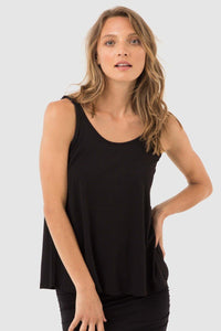 Relaxed Singlet by Bamboo Body in Black - Weekends on 2nd Ave