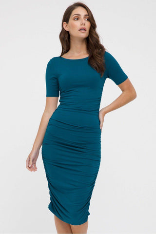 Bamboo Body Jasper Ruched Dress - Dark Teal | Buy Online at Weekends
