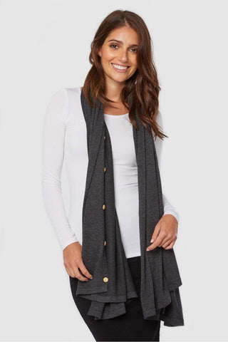 Bamboo Body Knit Bamboo Poncho - Charcoal | Buy Online at Weekends