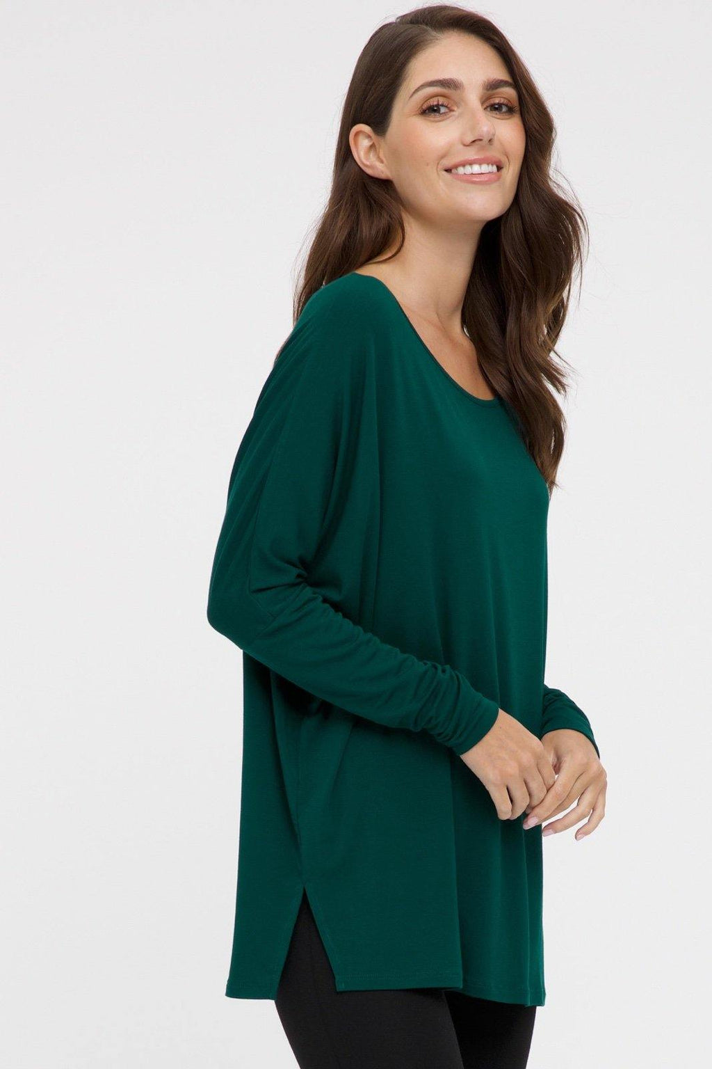 Bamboo Body Liv Long Sleeve Slouch Top - Dark Emerald | Buy Online at Weekends