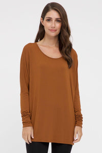 Bamboo Body Liv Long Sleeve Slouch Top - Ginger | Buy Online at Weekends