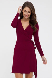 Bamboo Body Long Sleeve Wrap Dress - Rich Red | Buy Online at Weekends