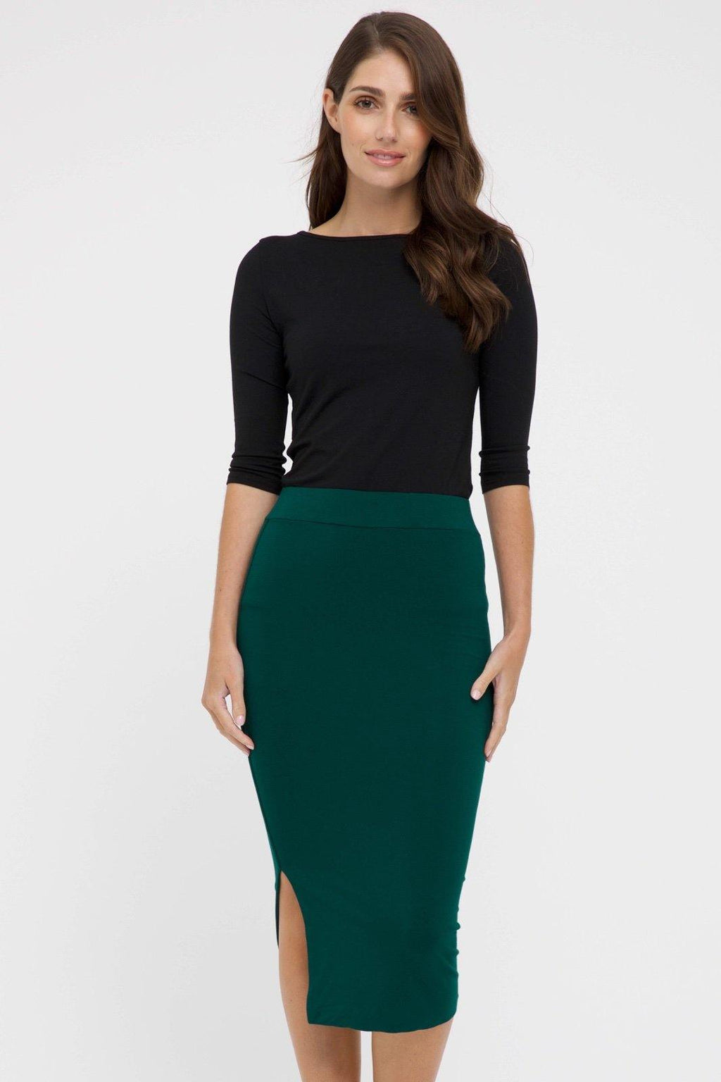 Bamboo Body Nina Side Split Skirt - Dark Emerald | Buy Online at Weekends