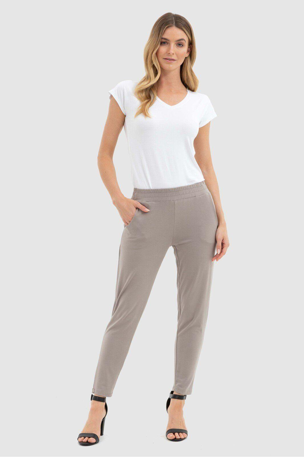 Bamboo Body Peggy Trousers - Stone style {{product.sku}} - buy from Weekends on 2nd Ave at {{shop.url}} or visit our shop at Second Ave Plaza on the corner of Beaufort Street & Second Avenue Mount Lawley WA