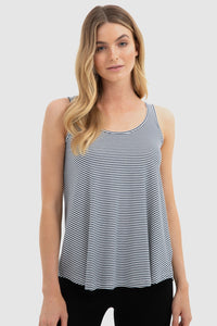 Bamboo Body Relaxed Singlet - White and Navy Stripe | Buy Online at Weekends