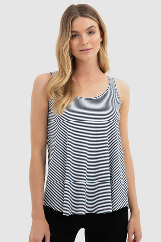 Relaxed Bamboo Singlet - Navy + White Stripe - Bamboo Body | Buy Online at Weekends