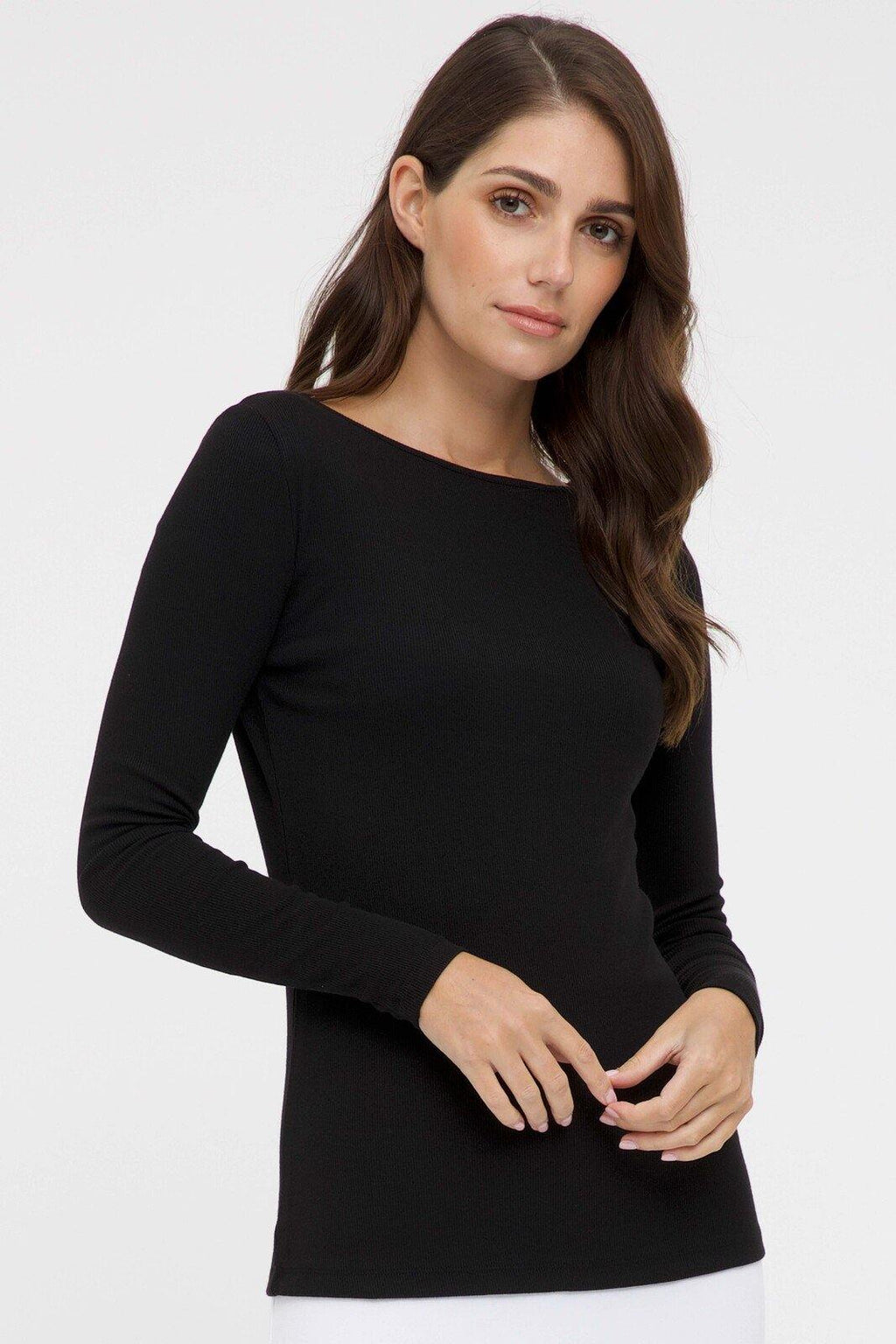 Bamboo Body Ribbed Boatneck Top - Black | Buy Online at Weekends