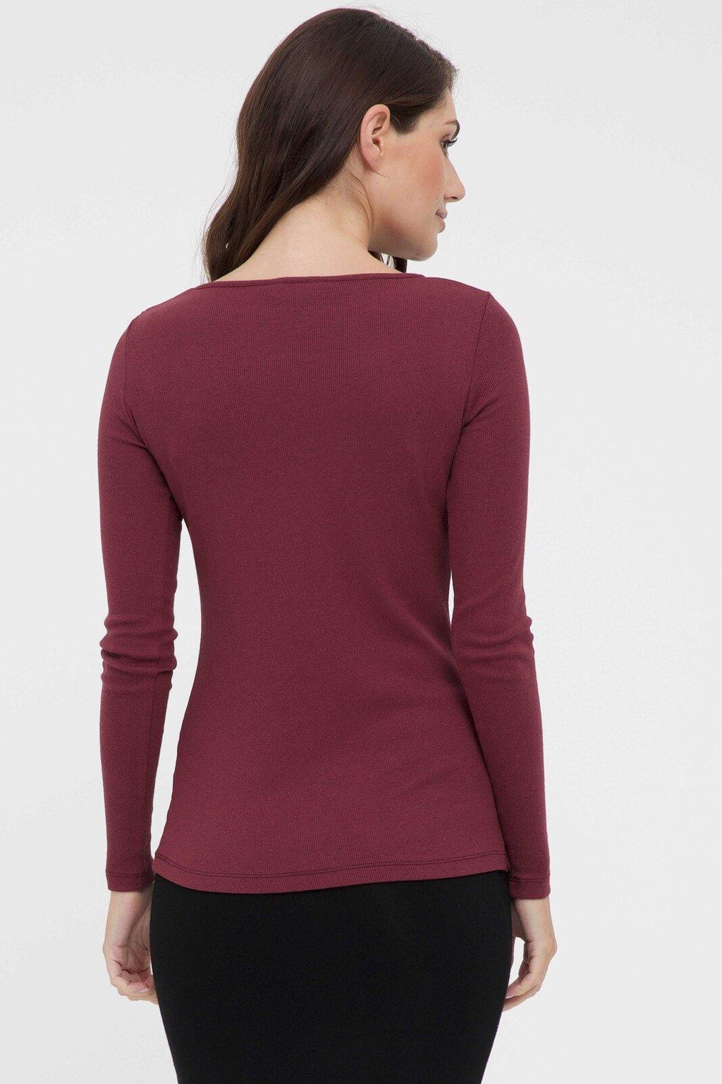 Bamboo Body Ribbed Boatneck Top - Burgundy | Buy Online at Weekends