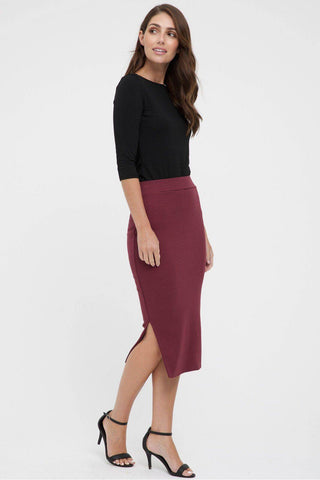 Bamboo Body Ribbed Split Skirt - Burgundy | Buy Online at Weekends