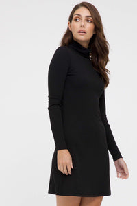 Bamboo Body Ribbed Turtleneck Dress - Black | Buy Online at Weekends