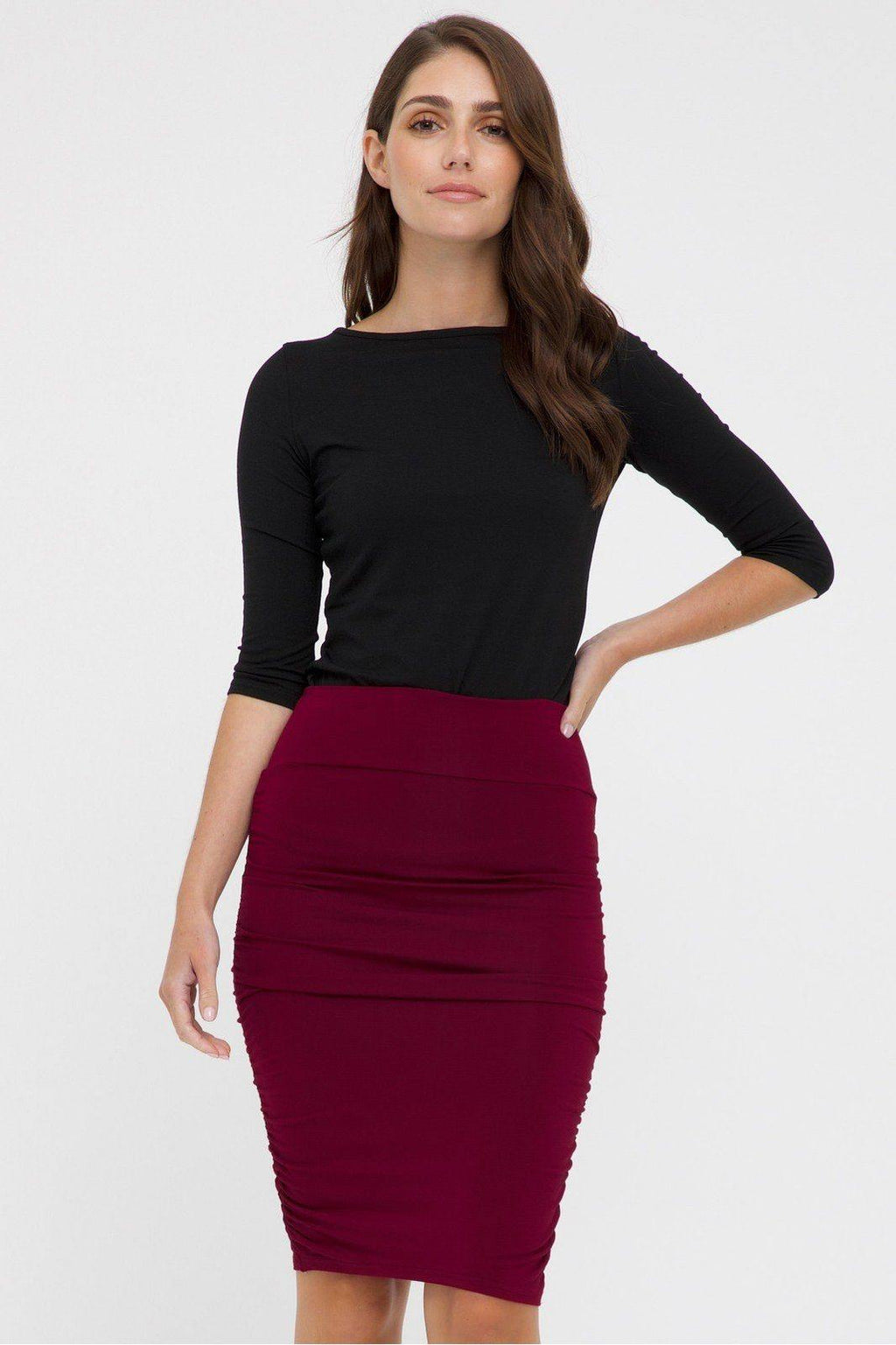 Bamboo Body Ruched Bamboo Skirt - Rich Red | Buy Online at Weekends